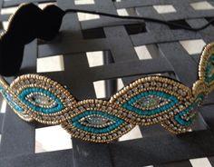 Turquoise & Gold Headband // Beaded Headband // Boho Headband //  Rhinestone Headband // Women Hair Accessory by freeyourdream on Etsy https://www.etsy.com/listing/230860691/turquoise-gold-headband-beaded-headband