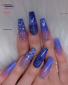 pretty nails for summer ; pretty nails for winter ; Glitter French Nails, Blue Glitter Nails, Blue Acrylic Nails, Summer Acrylic Nails, Neon Nails, Summer Nails, Nail Art Blue, Blue And Silver Nails, Dope Nails