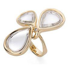 Anel de ouro amarelo 18K com cristais de rocha e diamante - Coleção DVF http://m.hstern.com.br/joia/anel/dvf/A2Q196727