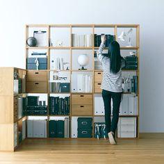壁一面を使う・家のかたちに合わせる - Stacking Shelf | Compact Life | 無印良品