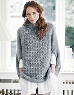 Top down poncho knitting pattern.