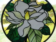 stained glass windows magnolias | Stained Glass Window Panel Round Magnolia by Nanantz on Etsy, $189.00