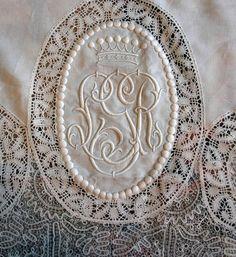 Antique lace monogram