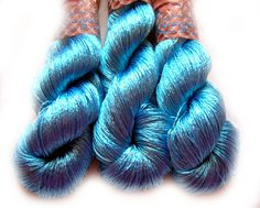 Viscose Silk Yarn color sky blue knitting and by HandyFamily
