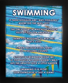 """Swimming Meet Poster Print features a photo of swimmers in action. """"If these goggles are anti-fogging, where did the wall go?"""" is just one of the funny and bold sayings on this swimming poster. Inspir"""