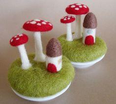 felted toadstool mushrooms