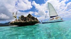 Off the south west coast of Mauritius, about 200 meters from the shore, sits this rock in the middle of the oce