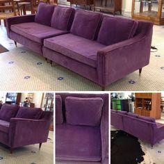 #Vintage #MidCenturyModern #Purple #Velvet #TwoPiece #SectionalSofa . Info @ link below.