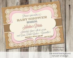 58 best p girl shower invates images on pinterest girl shower pink brown vintage lace burlap baby shower invitation 5x7 baby girl printable filmwisefo