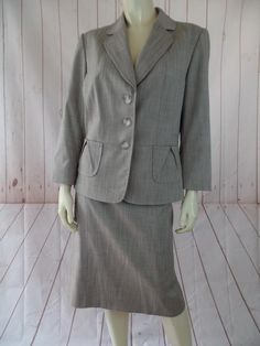 4556073f057 Escada Taupe White Pinstripe 46 Blazer 42 Set Wool Skirt Suit Size 18 (XL
