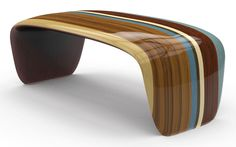Bench Venice by Jean-Marc Gady for Craman-Lagarde - Craman Lagarde - News and press releases Unique Furniture, Wooden Furniture, Contemporary Furniture, Luxury Furniture, Furniture Design, Modern Table, Wood Design, Chair Design, Wood Art