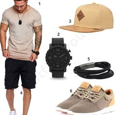 Beige-black outfit with fossil chrono and bracelet - Summer outfit with beige Amaci & Sons shirt, cool Djinns cap, Supra sneakers, Benk shorts, black Fo - Style Casual, Swag Style, Men Casual, Camisa Beige, Supra Sneakers, Style Streetwear, Mode Man, Style Urban, Big Men Fashion