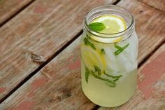 Lemon Basil Lemonade  Ingredients:  •1/2 cup rinsed lightly packed fresh basil leaf   •3 tablespoons sugar   •4 cups water   •1/2 cup freshly squeezed lemon juice   •1 sprig fresh basil