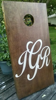Vinyl Stencil For Side Letter Painting On DIY Painting Cornhole - Custom vinyl decals for wood