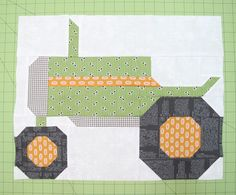 "Bee In My Bonnet: The Quilty Barn Along - Barn 12 and Easy Flying Geese and ""Furrows"" Block Tutorial! Bee in My Bonnet does it again with this darling tractor block. Paper Piecing Patterns, Quilt Block Patterns, Pattern Blocks, Quilt Blocks, Bird Patterns, Boy Quilts, Girls Quilts, Patch Quilt, Quilting Projects"