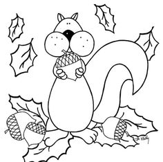 Autumn Squirrel Coloring Pages