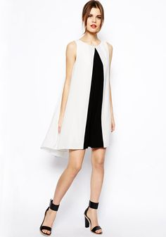 Black-White Patchwork Irregular High-Low Polyester Dress - Happy Hour