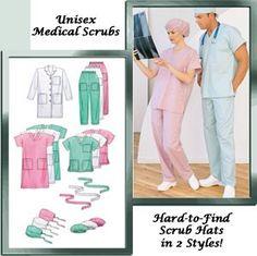 PLUS SIZE SCRUBS Sewing Pattern ~  Scrub Hats Caps by patterns4you