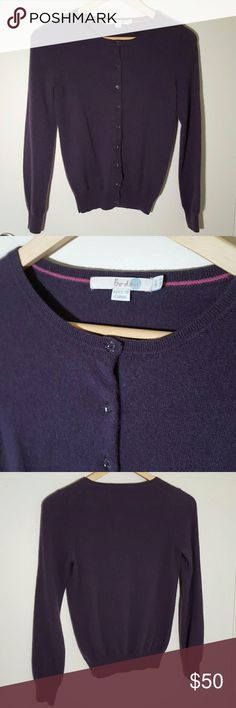 """Boden Purple Cashmere Cardigan Sweater US 2 Super soft purple cardigan sweater by Boden, size UK 6 or US 2.  100% Cashmere.  Long sleeves.  Button front with high rounded neckline, fitted ribbed hem and cuffs.  30"""" bust, 21"""" length from shoulder.  Excellent used condition! Boden Sweaters Cardigans"""