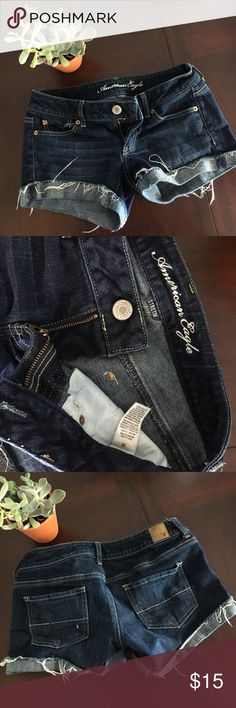 NEW AE Denim Stretch Cutoff Cuff Shorts new listing American Eagle jean shorts. Worn once great condition! These are stretchy and very comfortable. A nice dark wash with a cut off hem and then rolled to a cuff. The tag says size 2 but I am NEVER a 2 I am always a 4 sometimes a 6 so I listed these as a 4. Questions and offers welcome. Bundle and save!! American Eagle Outfitters Shorts Jean Shorts