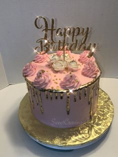 Pink & Gold Drip Cake. All buttercream. Edible Flowers