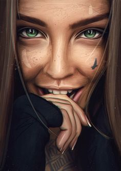 Realistic Illustration of Woman Evvi Art, Portrait Art, Portraits, Arte Black, Chicano Art, Digital Art Girl, Dope Art, Woman Face, Cartoon Art