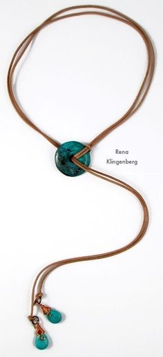 Diy Jewelry Southwestern Lariat Necklace - tutorial by Rena Klingenberg - Free jewelry tutorials, plus a friendly community sharing creative ideas for making and selling jewelry. Lariat Necklace, Leather Necklace, Circle Necklace, Wire Jewelry, Jewelry Crafts, Beaded Jewelry, Jewelry Necklaces, Jewelery, Diy Accessories
