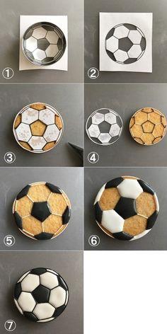 丸型クッキーと同じ大きさにサッカーボールのイラスト等を印刷する ↓ サッカーボールの黒の部分だけカッターで切り取る ↓ 印刷したものをクッキーの上に乗せ、黒の部分だけアウトラインをひく ↓ 白で必要な部分に線をひく ↓ 黒部分のみ塗りつぶす ↓ 隣合わないように、白部分を塗りつぶす ↓ 黒で全ての縁取りが終われば完成!