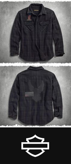 On the back of this men's long sleeve shirt a dirty patch overlaps awe-inspiring embroidery of our iconic eagle. | Harley-Davidson Men's Over-Dyed Plaid Slim Fit Shirt