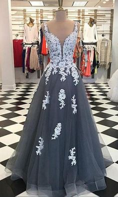Gray Tulle Lace Long Prom Dress, Lace Evening Dress on Luulla