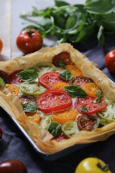 tarte chèvre/tomates multicolores