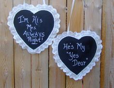 Mr and Mrs Sign / Wedding Chair Sign / by CarolesWeddingWhimsy, $29.99, set of 2, Christmas Wedding Chalkboard Wedding Chair Signs - Hearts Trimmed with Lace - Sweet Heart Table Decoration - You can find them here https://www.etsy.com/listing/163828848/mr-and-mrs-sign-wedding-chair-sign  https://www.etsy.com/shop/CarolesWeddingWhimsy  https://www.facebook.com/CarolesWeddingWhimsy
