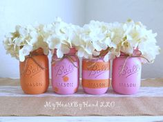 Pink and Orange Distressed Mason Jars, Birhtday Party and Baby Shower Centerpieces, Orange Polka Dots, Pink Stripes, Painted Jars, Vases by MyHeartByHand on Etsy