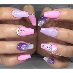 Baby pink and lavender coffin nails ✨#gelnails