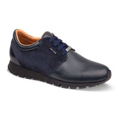 Men's blue leather and suede snake textured sneakers from Armos