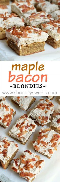 These Maple Bacon Blondies are the perfect sweet and salty dessert. From the chewy blondie base to the fluffy maple frosting and crispy bacon, each bite is delicious!