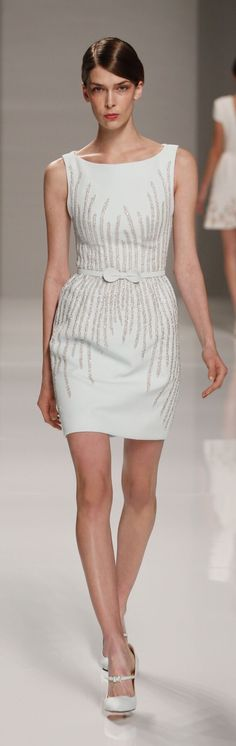 Georges Hobeika ~ Couture Summer White Sleeveless Cocktail Dress w Sequin Details 2015