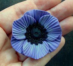 Pretty in Purple Poppy Pendant in polymer clay by ZudaGay, via Flickr
