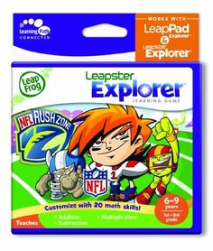 LeapFrog Explorer Learning Game: NFLRush Zone (works with LeapPad Explorer & Leapster Explorer) by LeapFrog. $15.59. From the Manufacturer                Customize the learning by choosing from 20 different mathematics skills, then play with your favorite NFL team in 5-on-5 football!    Works with the Leapster Explorer and LeapPad Explorer systems.                                    Product Description                Customize the learning by choosing from 20 different mathemati...