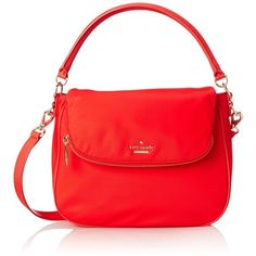 kate spade new york Classic Nylon Small Devin Shoulder Bag ($258) ❤ liked on Polyvore featuring bags, handbags, shoulder bags, nylon handbags, kate spade purses, nylon purse, red purse and red handbags