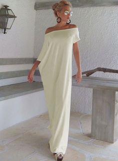 Baumwolle Solide kurze Ärmel Maxi Lässige Kleidung Kleider
