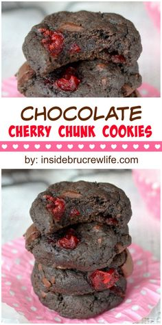 Chocolate Cherry Chunk Cookies - These easy and decadent chocolate cookies that are perfect for the chocolate lover in you. Make and fill your cookie jar today! Cookie Desserts, Easy Desserts, Delicious Desserts, Dessert Recipes, Yummy Food, Brownie Deserts, Brownie Trifle, Baking Recipes, Chocolate Cherry Cookies