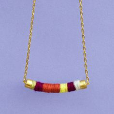 Gold-Plated Tejeduria Necklace 2 gold, jewelry, multi