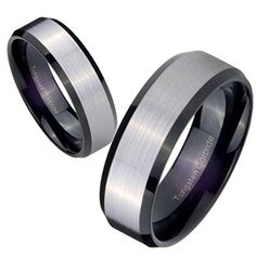 Free Laser Engraving 5MM Black Edges Silver Middle Tungsten Carbide Women Ring Size 8 - Brought to you by Avarsha.com