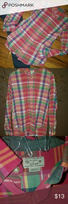 Vintage J Crew Plaid Button Up Vintage Plaid J Crew Button Up size Medium J. Crew Tops Button Down Shirts