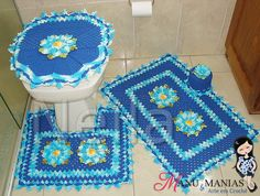 Jogo de Banheiro Margaridas Azul
