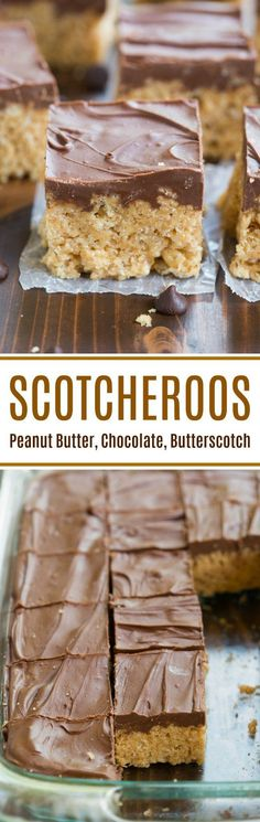 Scotcheroos The BEST NO BAKE treat! Scotcheroos are a peanut butter rice crispy bar with a chocolate and butterscotch topping. This easy dessert is BEST and the perfect summer treat! Oreo Dessert, Brownie Desserts, Mini Desserts, Low Carb Dessert, No Bake Desserts, Easy Desserts, Dessert Recipes, Chocolate Desserts, Snack Recipes