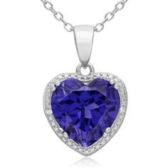 3 Carat Created Tanzanite and Diamond Heart Necklace in Sterling... (43 CAD) ❤ liked on Polyvore featuring jewelry, necklaces, accessories, blue, blue necklace, sterling silver jewelry sets, heart shaped diamond necklace, sterling silver diamond necklace and sterling silver necklace