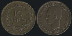 """10 BB)(type I) with """"George I, King of Greeks"""" in copper, Die break on reverse. Commemorative Coins, Greeks, Bb, Auction, Copper, King, Type, Coins, Brass"""