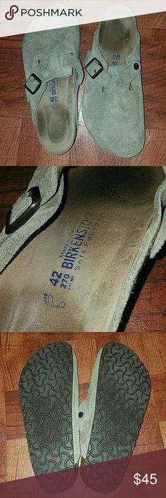 Birkenstocks Tan Boston Clogs Men's size 9 and Ladies size 11. Tan suede slip on. Soft Footbed. Some wear but still has lots of life left in these!! Super comfortable!! Birkenstock Shoes Loafers & Slip-Ons